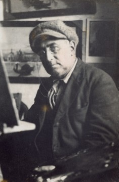 enrico gori nel suo studio dipinge ad olio Follonica 1930